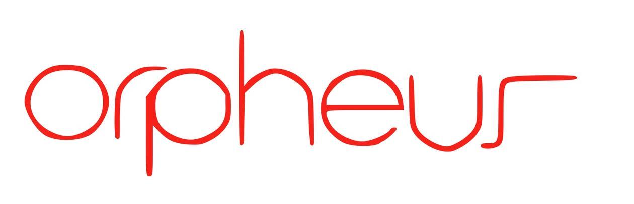 Orpheus logo, red on white background