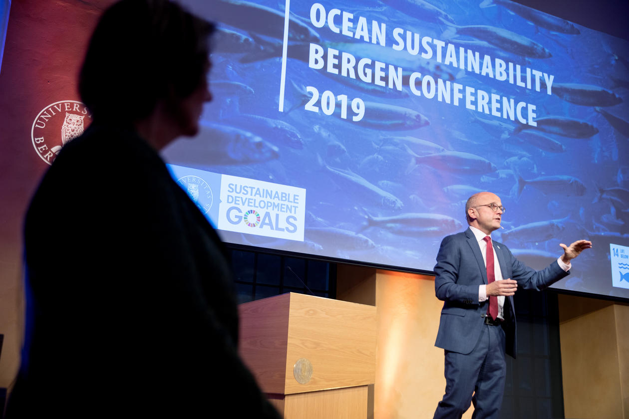 Former Norwegian Minister of Climate and Environment and now ocean diplomat Mr. Helge Vidarsen speaking at the Ocean Sustainability  Bergen Conference in October 2019.