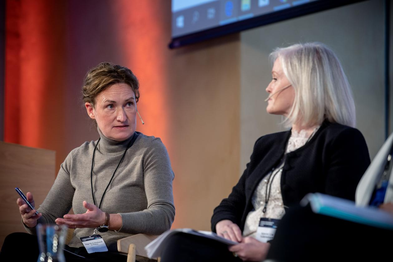 Professor Sigrid Schütz (left) speaking in a panel discussion during the inaugural Ocean Sustainability Bergen Conference in October 2019.