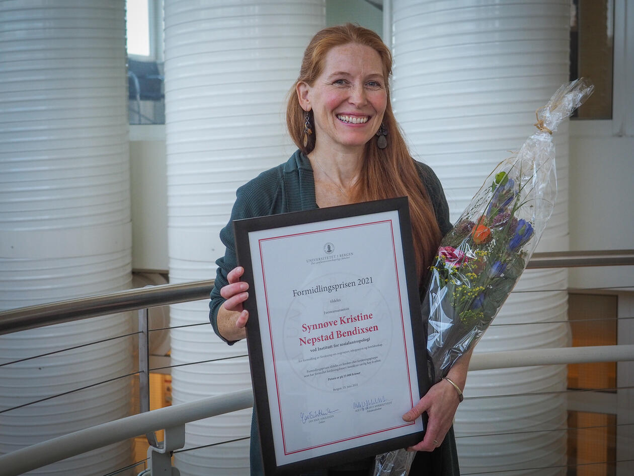 Formidlingsprisen 2021 sosialantropolog Synnøve Bendixsen