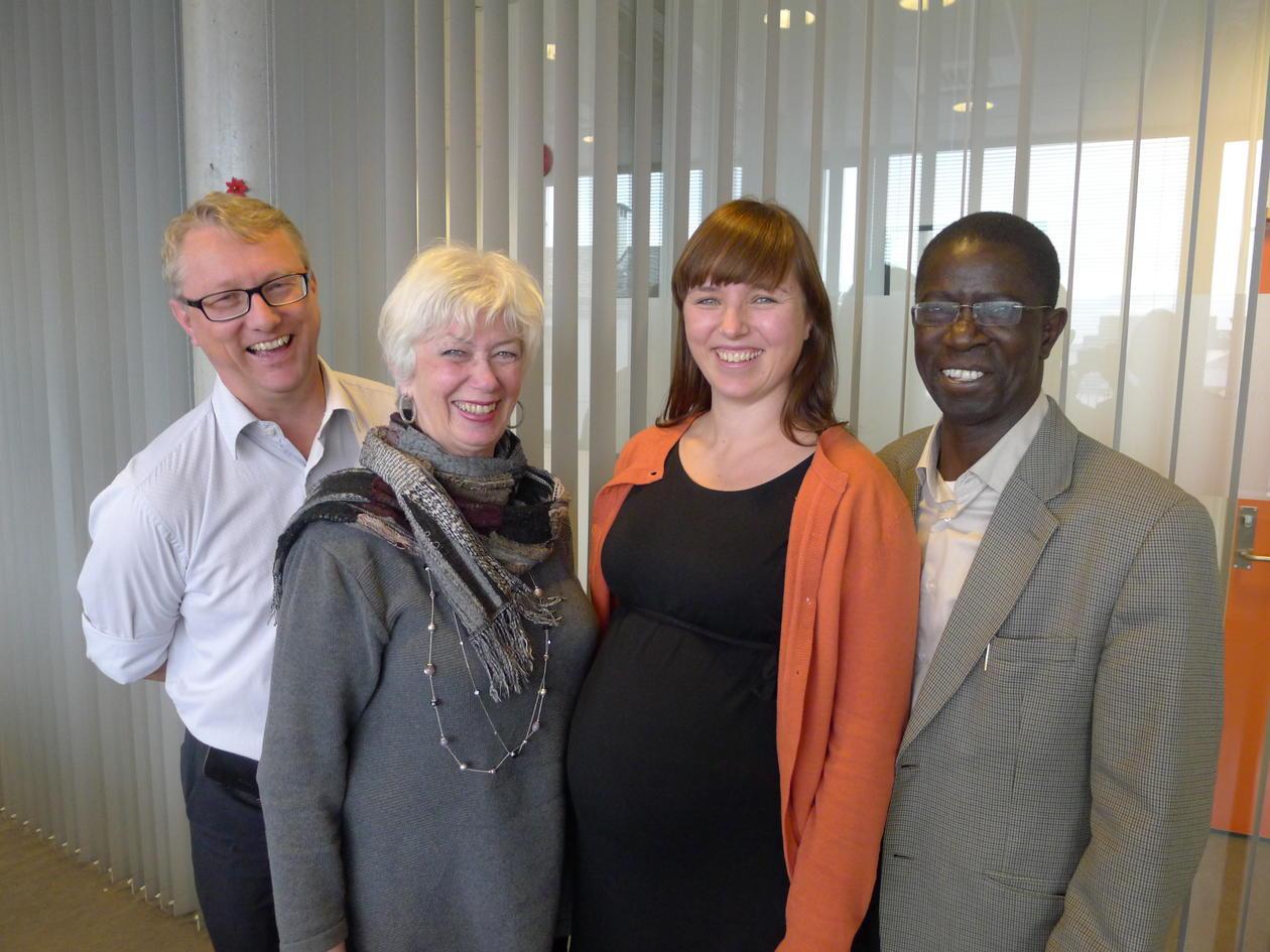 Coordinators for collaboration between University of Bergen and Makerere University, left to right: Thorkild Tylleskär, Thelma Kraft, Kristin Svartveit and Edward K. Kirumira meeting in Bergen in November 2013.
