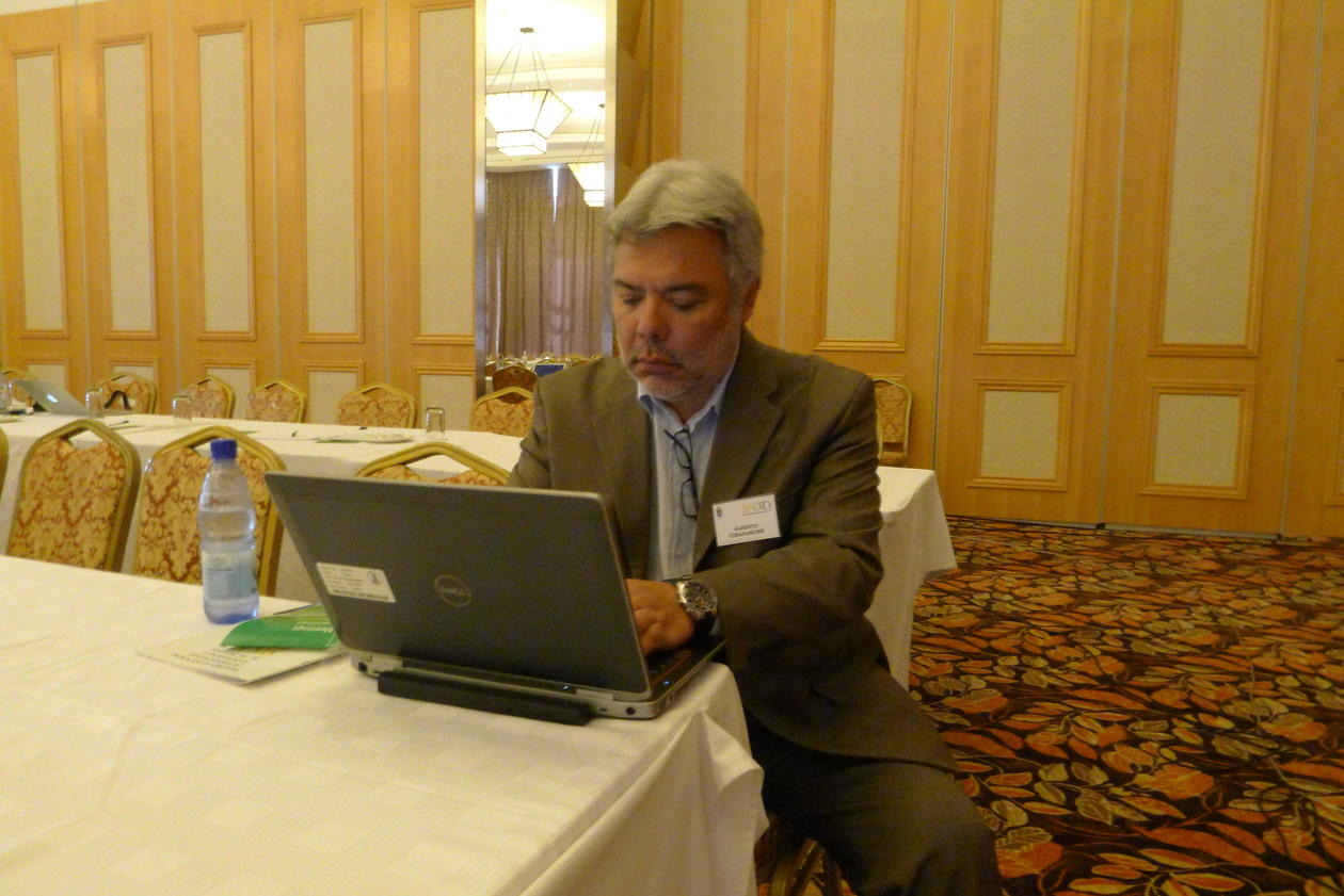 Director Alberto Cimadamore of CROP, based at the University of Bergen, prepares a speech on poverty at the SANORD conference in Malawi's capital Lilongwe in December 2013.