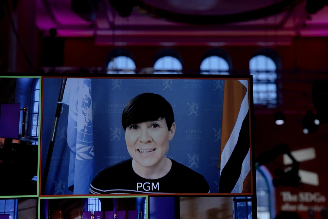 Norway's Minister of Foreign Affairs Ine Eriksen Søreide speaking at the opening of the 2021 SDG Conference Bergen on Thursday 11 February.