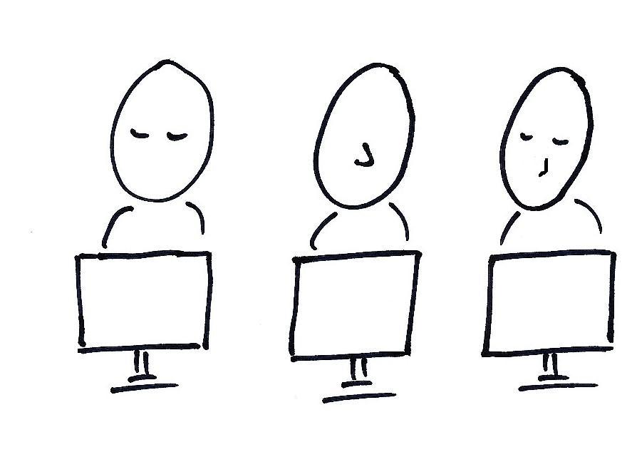 Strektefning av tre personer som ser på hver sin pc