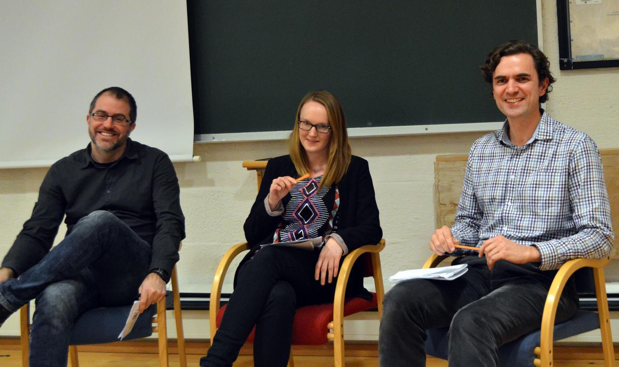 Debatt om samfunnsvitenskapens rolle i tverrfaglig energi- og klimaforskning.   I panelet:  Endre Tvinnereim, Ingrid Ballo, og Kerim H Nisancioglu