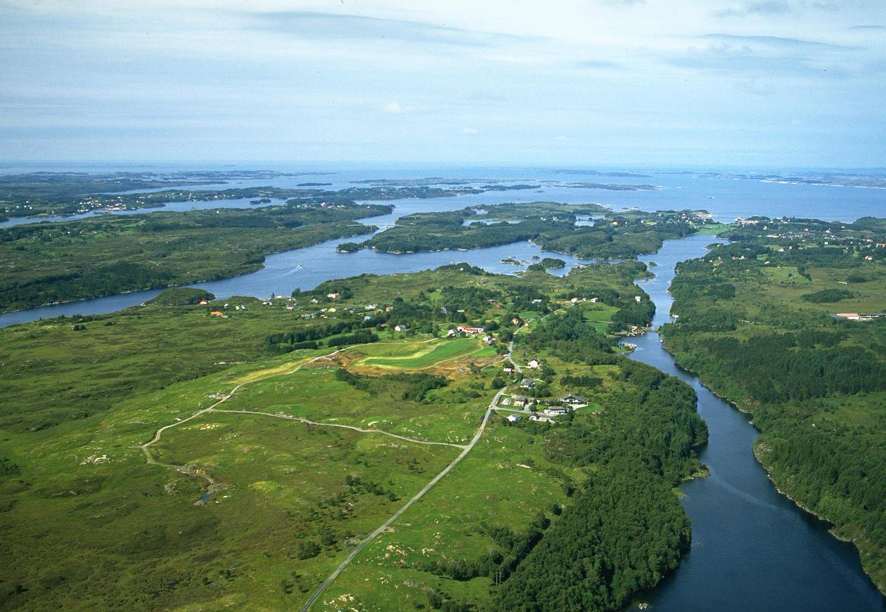 Aerial photo of the Nordhordland UNESCO Biosphere Reserve.