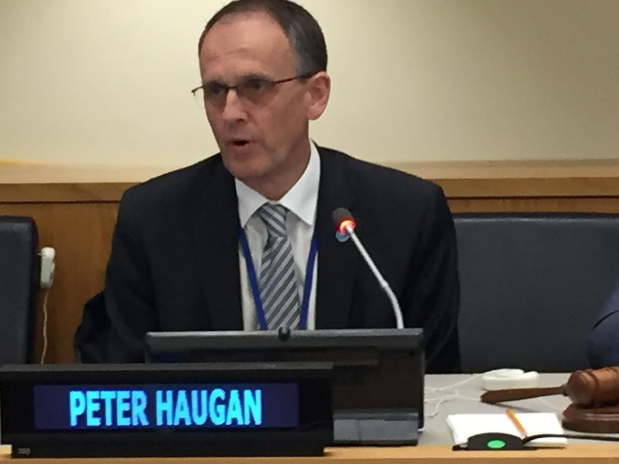Professor Peter M. Haugan is academic director for Ocean Sustainability Bergen. Here he is in action at the 2017 UN Ocean Conference in New York.