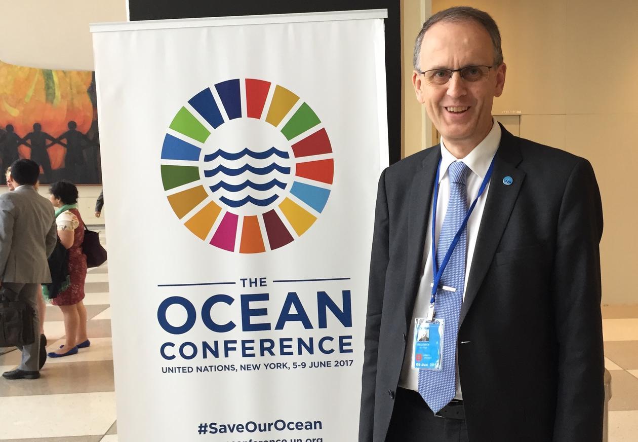 Professor Peter M. Haugan from the University of Bergen at the UN Ocean Conference in New York in June 2017.