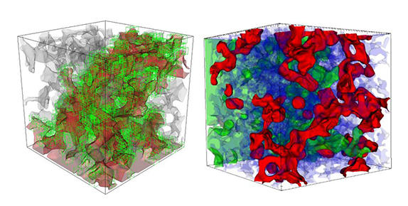 Parallel 3-D simulations of capillary-controlled displacement in sandstone.