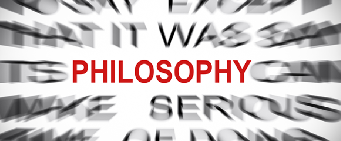 Philosophy in red text surrounded by blurred words