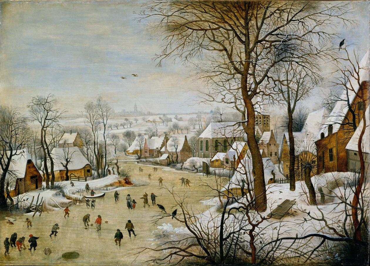 paining winter landscape with bird trap_Pieter_brueghel