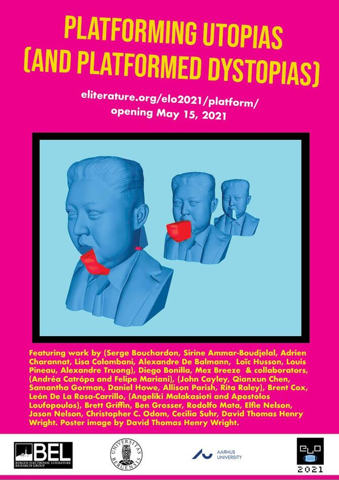 """Exhibition poster for """"Platforming Utopias (and Platformed Dystopias)."""""""
