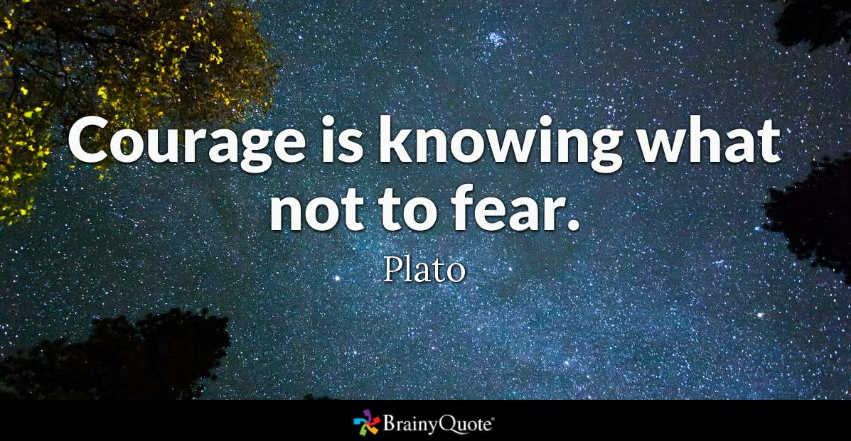 "Sitatet: ""Courage is knowing what not to fear"" med et abstrakt bilde i bakgrunnen"