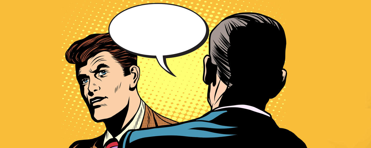 pop art illustration of people in dialogue, not agreeing.