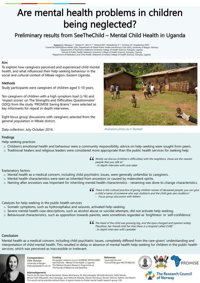 Poster - Are mental health problems in children being neglected? - V. Skylstad et.al