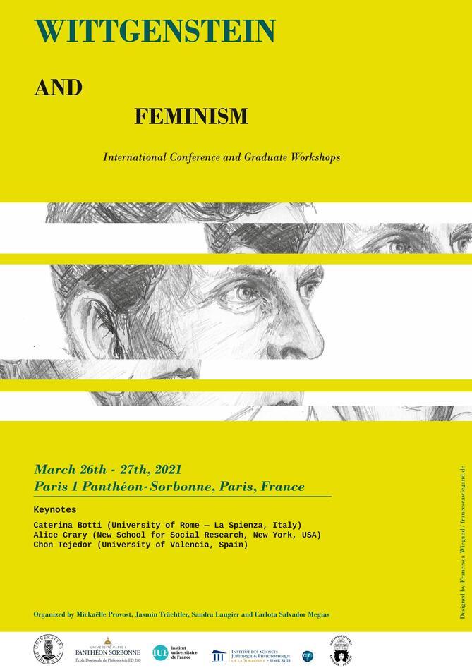 Poster knyttet til konferansen Wittgenstein and feminism (med Wittgensteins hode delt i flere horisontale deler som er venstre-høyre forskjøvet).