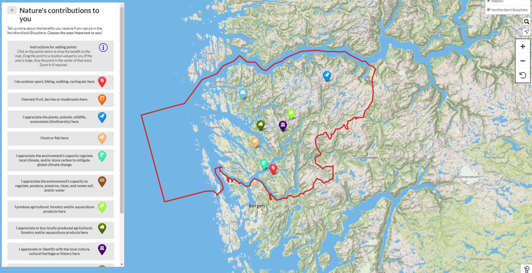 Map of Nordhordland with pinpoints of people's nature activities