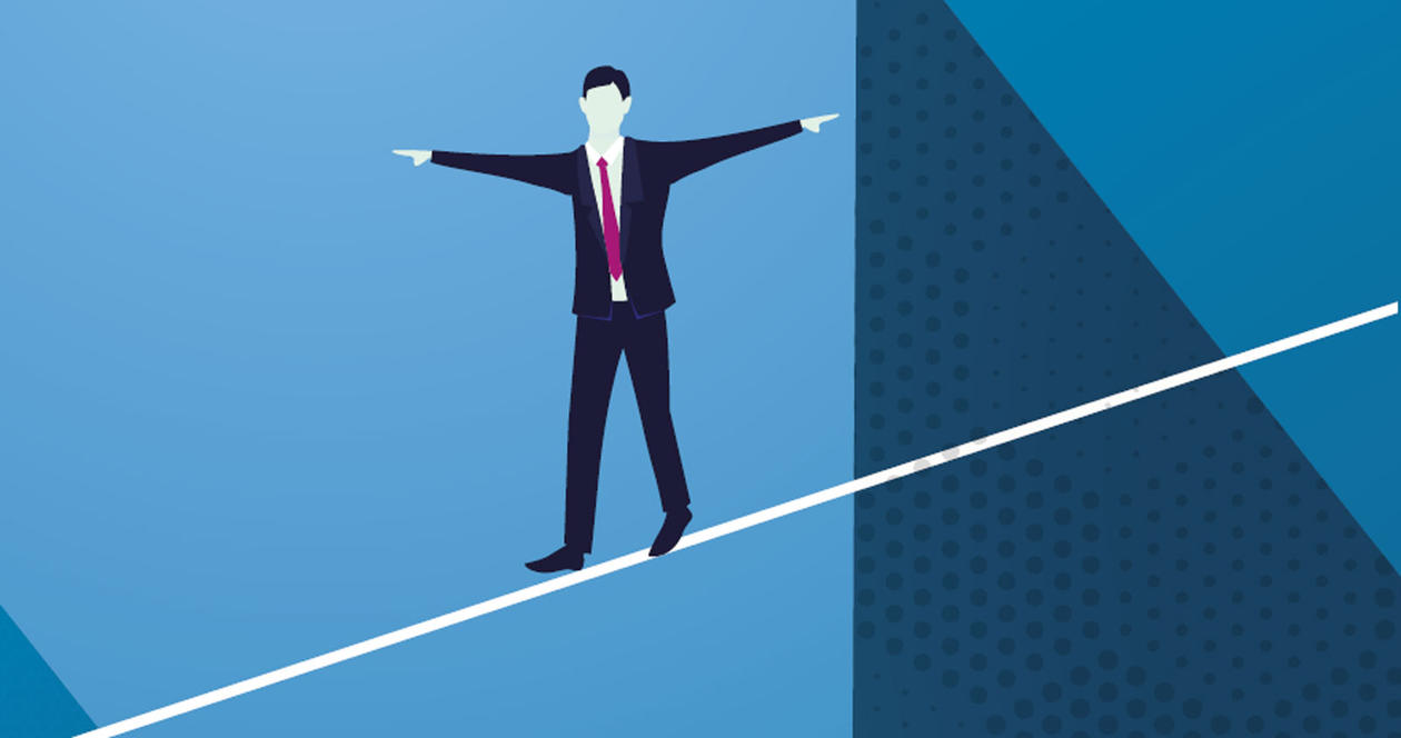 Illustration of a man balancing on a wire.