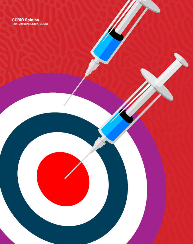 illustration, syringes used as dart arrows.