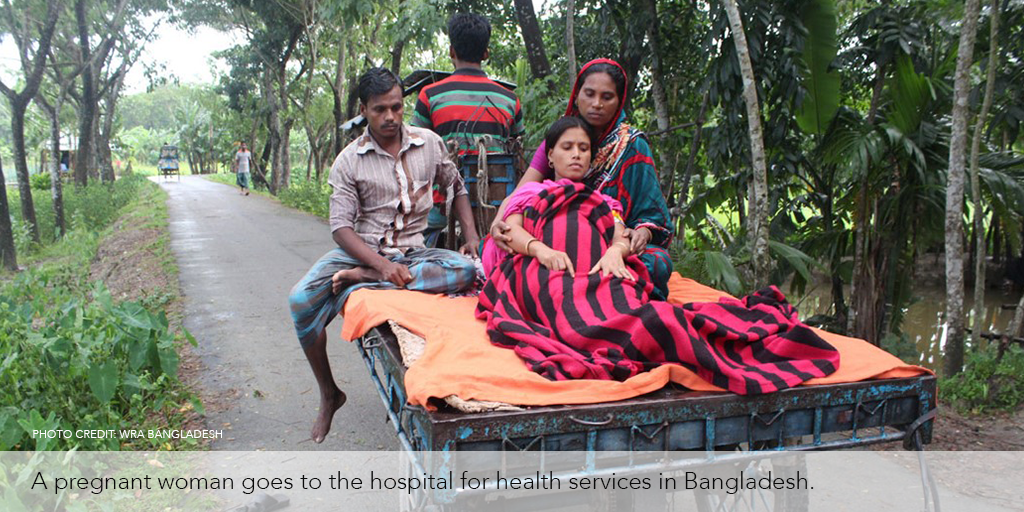 Pregnant woman goes to the hospital for health services in Bangladesh