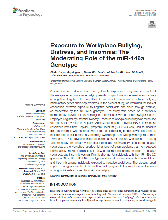 Exposure to workplace bullying, distress, and insomnia: the moderating role of the miR-146a genotype