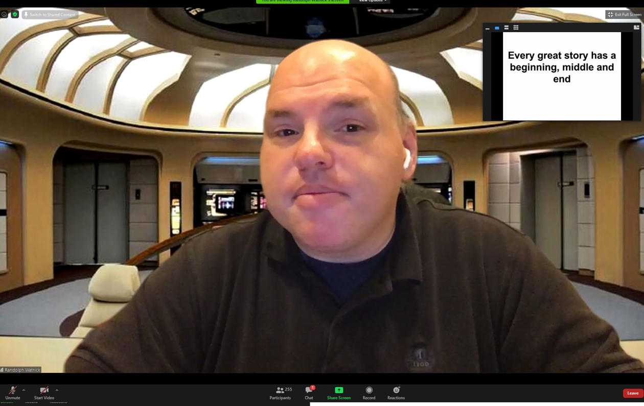 Screenshot from Zoom, with the speaker.