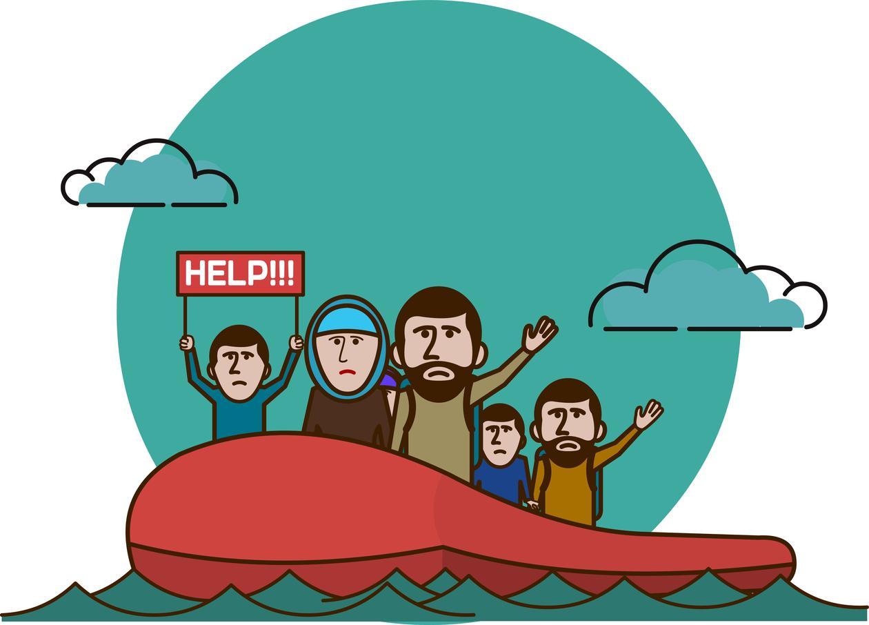 Flyktninger på vei til Europa
