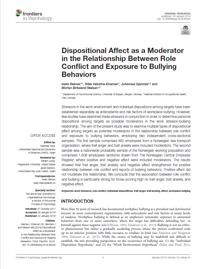 Dispositional affect as a moderator in the relationship between role conflict and exposure to bullying behaviors