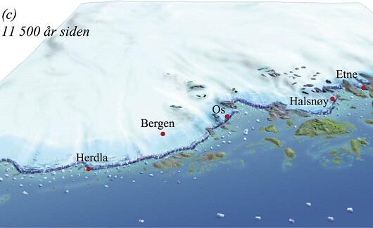 Rekonstruksjon av breen over Hordaland for 11500 år siden