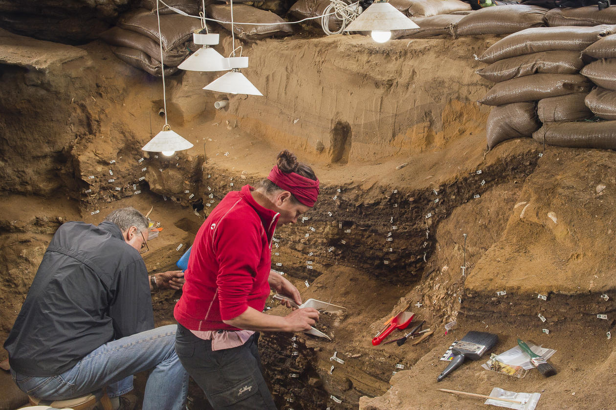 Archaeology researchers working in Blombos Cave in South Africa.