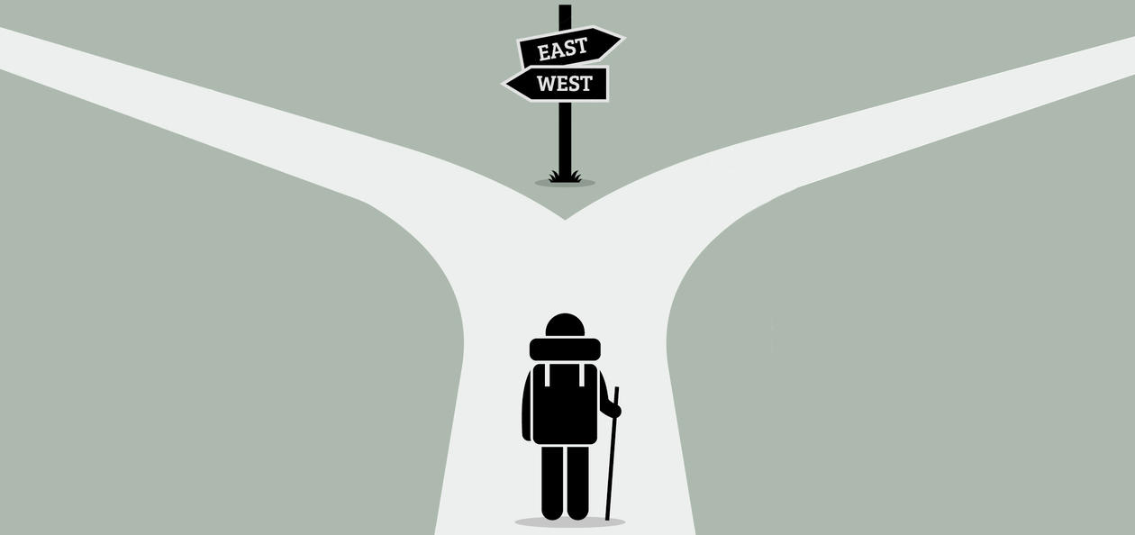 Illustration of a person standing before a crossroads, trying to decide which way to go.