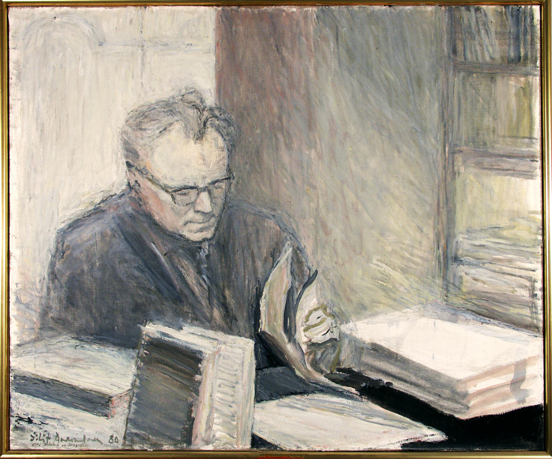 Photo of illustration of the renowned UiB scholar and social scientist Stein Rokkan.