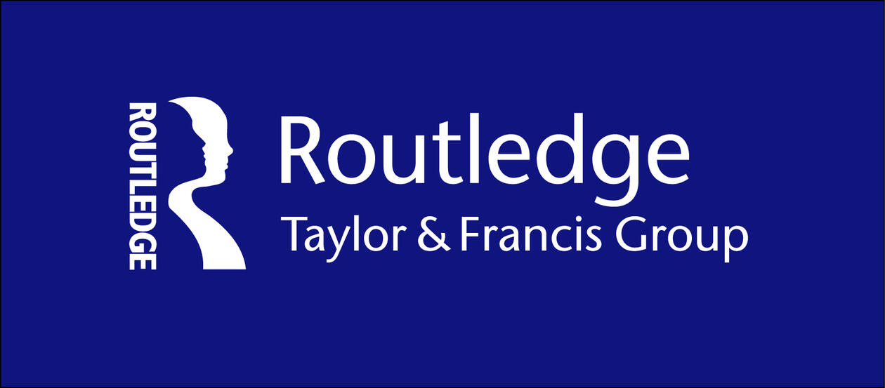 Text in white on blue background, Routledge logo with a blue and a white human silhouette