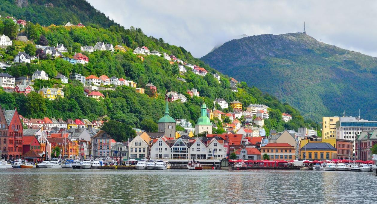 Bildet av torget i Bergen