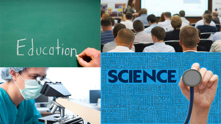 Collage showing science and education situations.