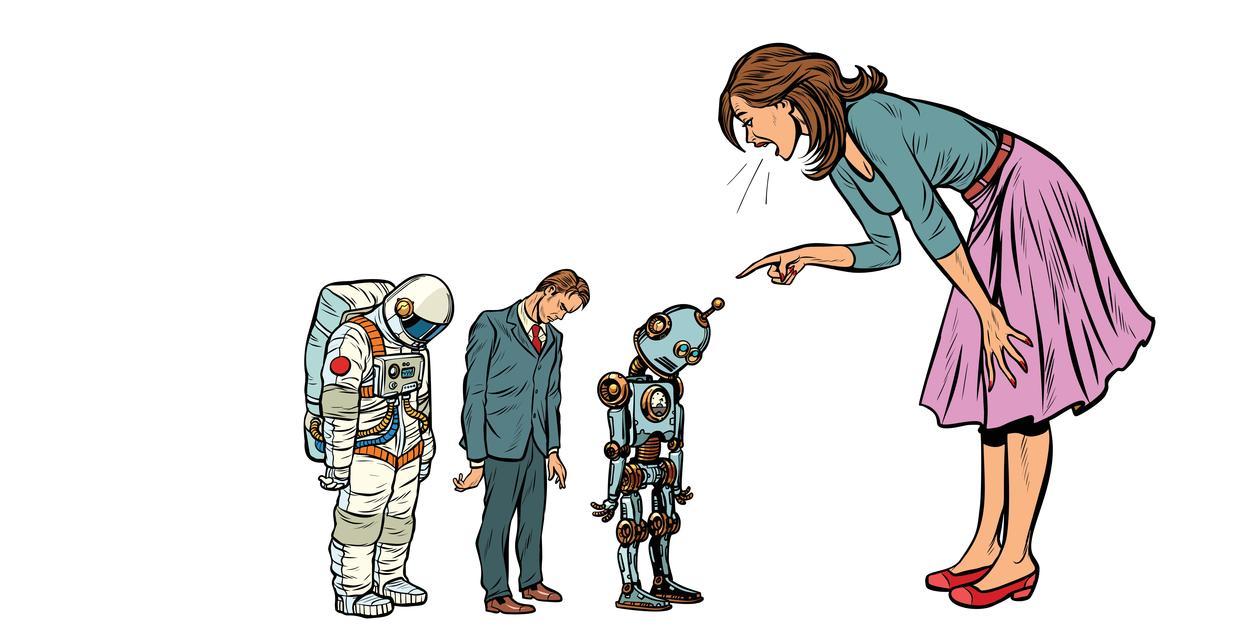 Dame skjenner på ein robot