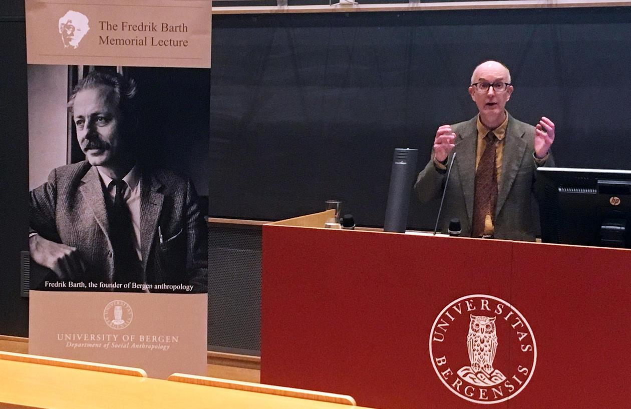 Scott lecturing at the Fredrik Barth Memorial Lecture 2018