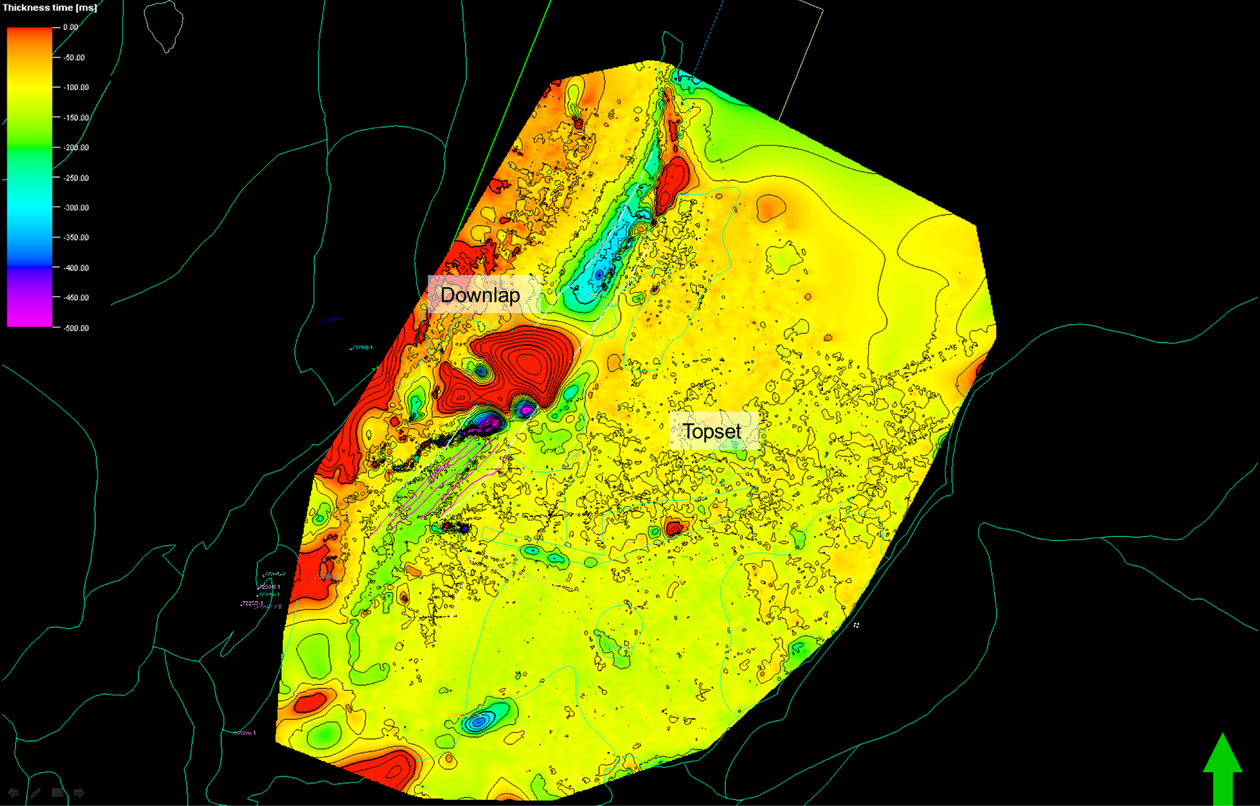 The figure shows an isopach map of one subunit of the Kobbe Formation in the SW Barents Sea.