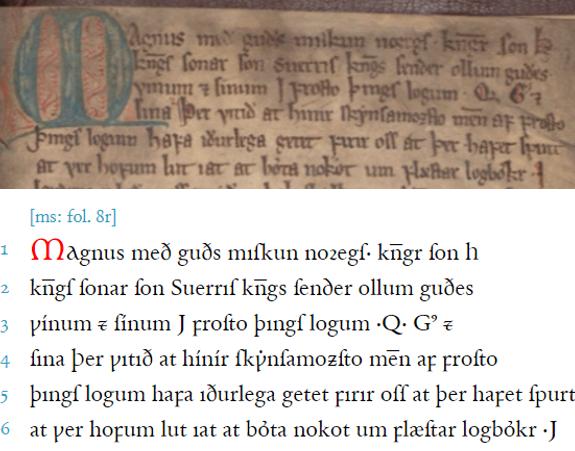Holm perg 34 4to – Landslǫg Magnúss Hákonarsonar   Magnus Lagabøtes landslov