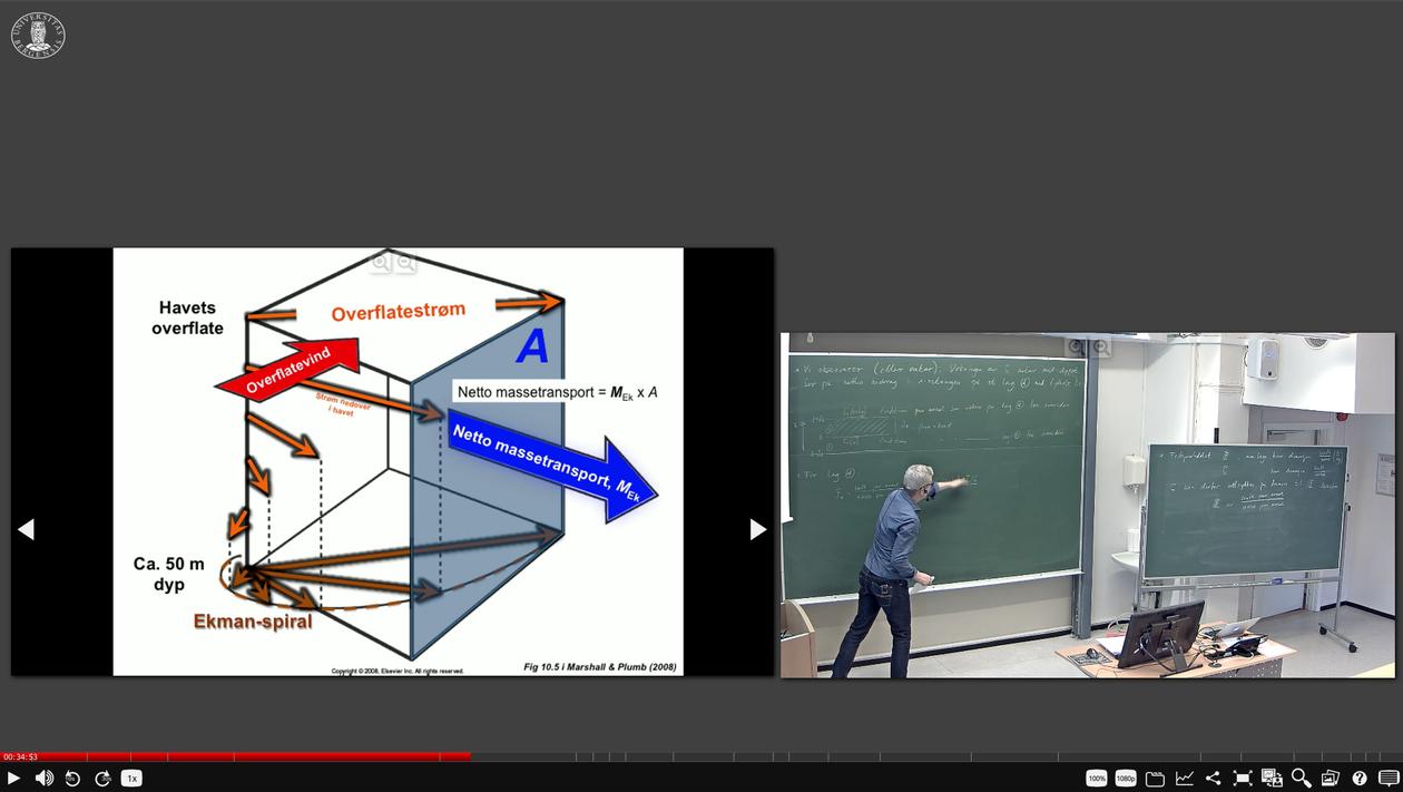 Skjermdump av et videonotat. Powerpoint til venstre, opptak av forelesningssal til høyre. Studenten kan selv velge om hun vil se begge skjermene eller bare en av dem, og kan zoome inn på detaljer.