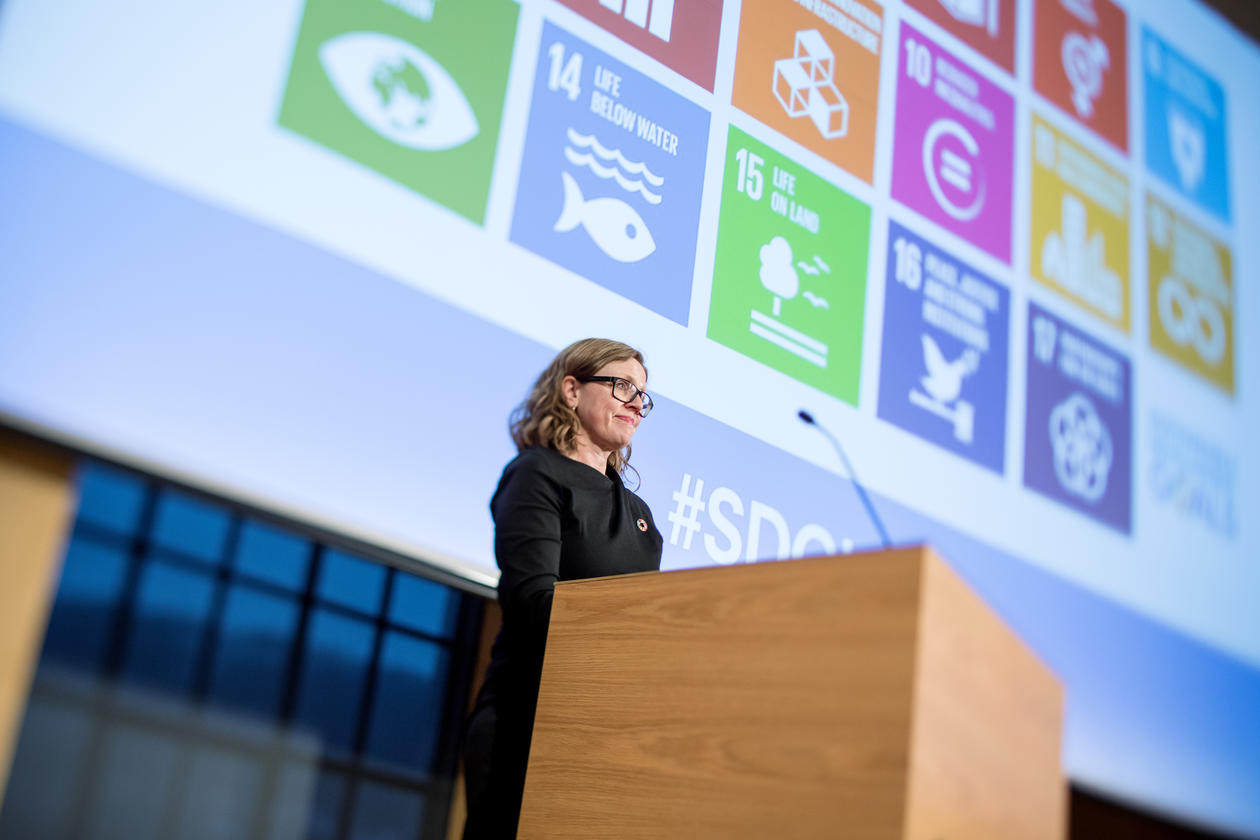 Vice Rector for Global Relations Annelin Eriksen, University of Bergen, closing the inaugural SDG Conference Bergen on 9 February 2018.