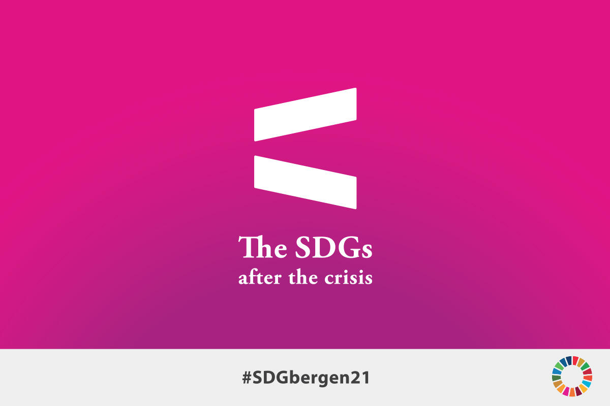 Logo design SDG Conference Bergen 2021 with hashtag and SDG wheel