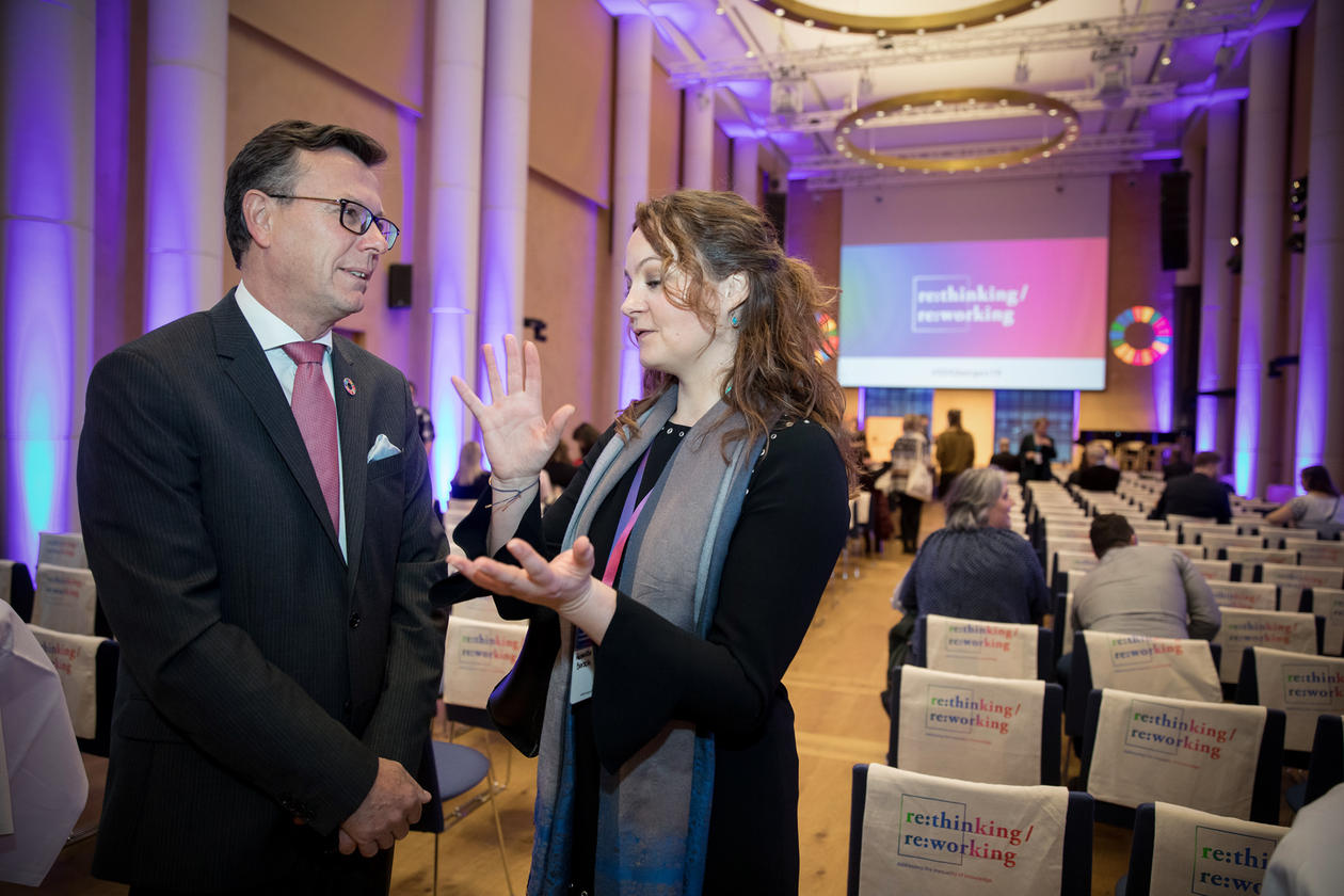 State Secretary Rebekka Borsch from Norway's Ministry of Education and Research with University of Bergen's Rector Dag Rune Olsen at the 2019 SDG Conference Bergen.
