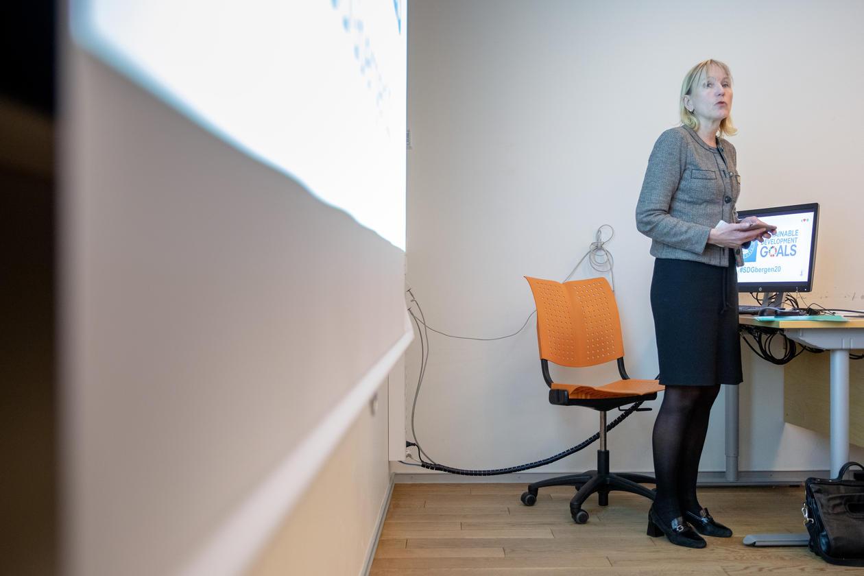Pro-Rector Margaret Hagen at the SDG Bergen Science Advice workshop on 5 February 2020.