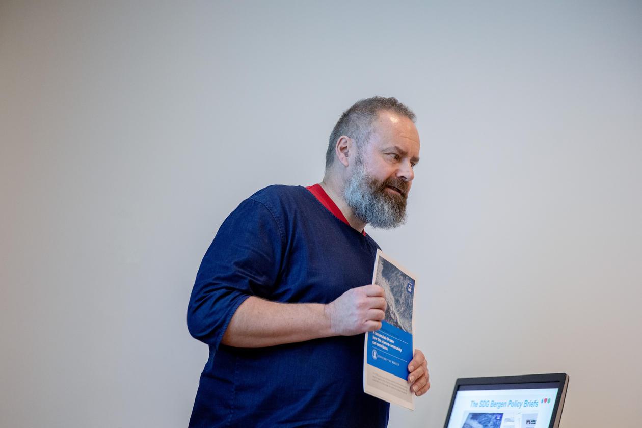 Communications adviser Sverre Drønen at the SDG Bergen Science Advice workshop on 5 February 2020.