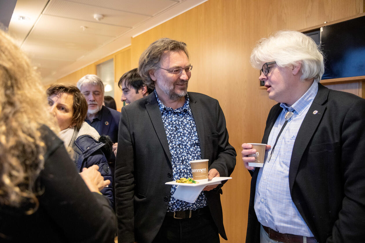 Edvard Hviding from the University of Bergen and Rasmus Gjedssø Bertelsen from the Arctic University of Norway at a science diplomacy workshop in Bergen in February 2020.