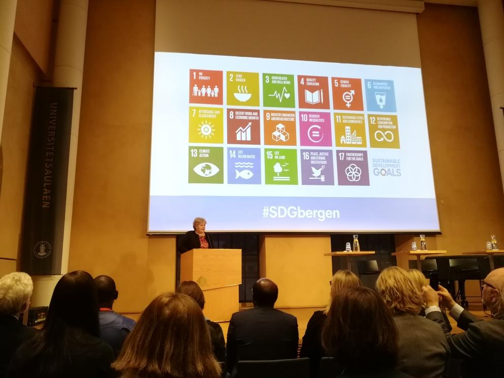 Prime Minister Erna Solberg at SDG Bergen 2018