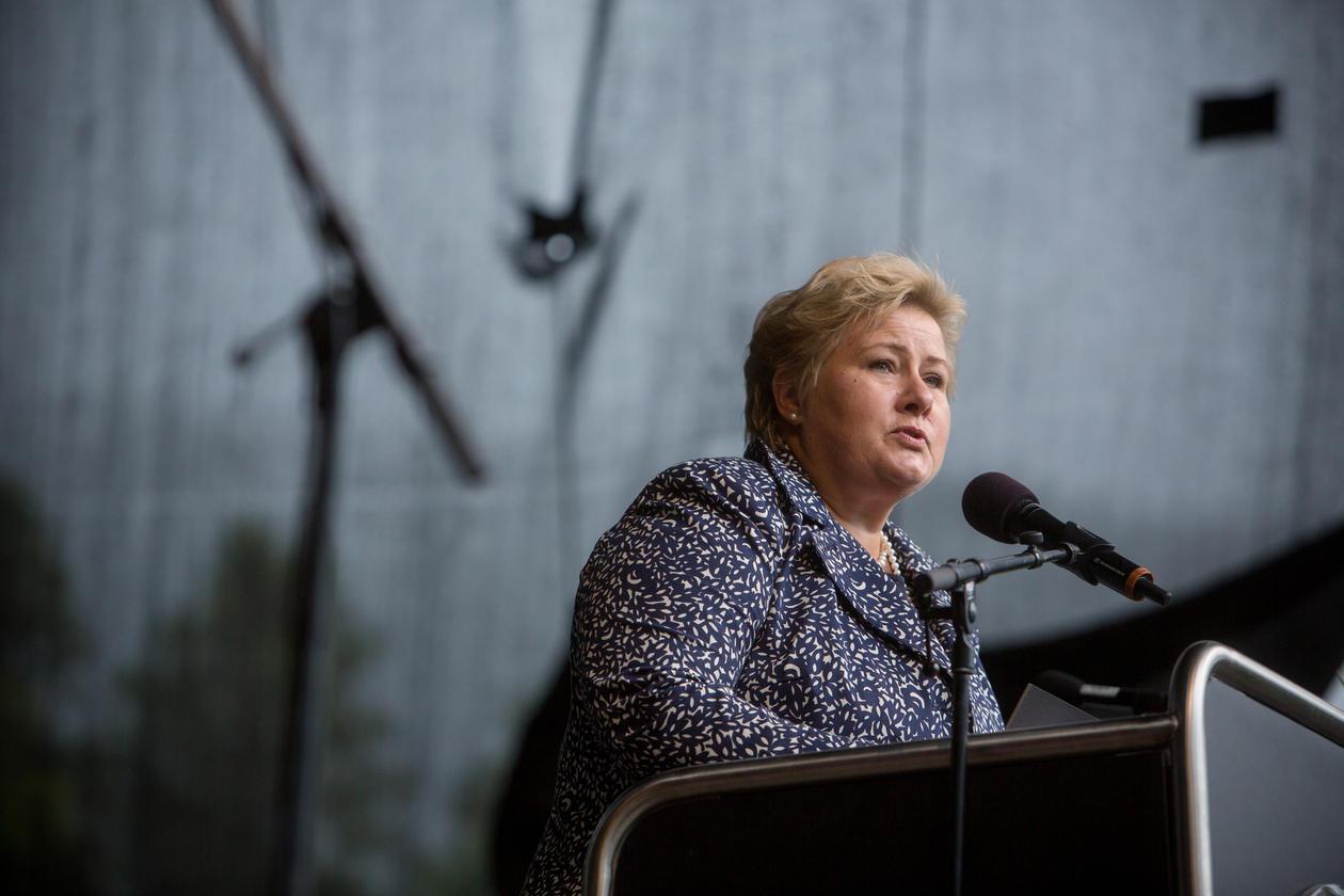 Bilde av Erna Solberg på talerstolen