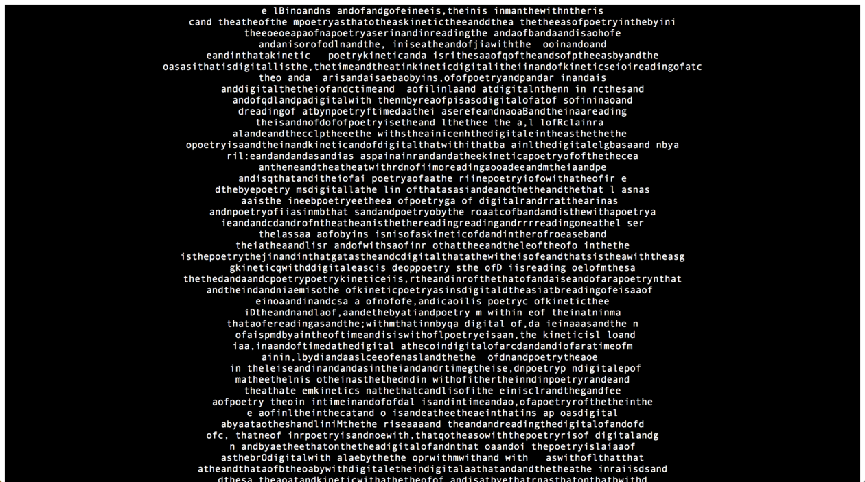Image  showing a mass of text on a black background.