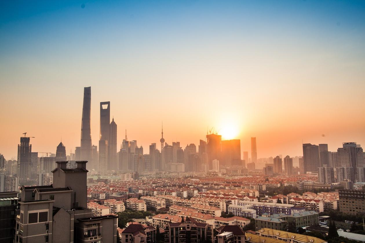 The famous Shanghai skyline seen from behind.